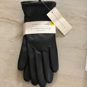 Charter Club Women's Black Leather Gloves